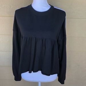 Musturd Seed Black Cropped Peplum Sweater